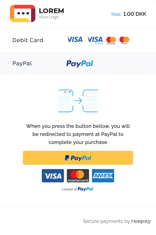 Reepay Payment Window Paypal